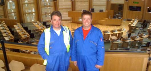 Owners david and Thomas Gribbin at the Scottish Parliament Building